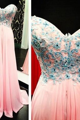 cheap Prom Dresses, Strapless Lace Appliques Ruffles Chiffon A Line Long Prom Dresses,Prom Dresses,Formal Evening Gown,Prom Gown,